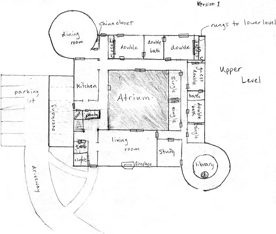 Layout of ground floor in Version 1 of the communal house