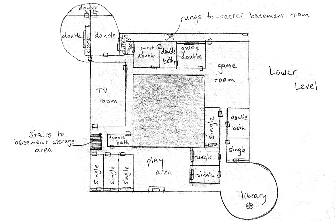 Layout of the lower level in Version 1 of the communal house