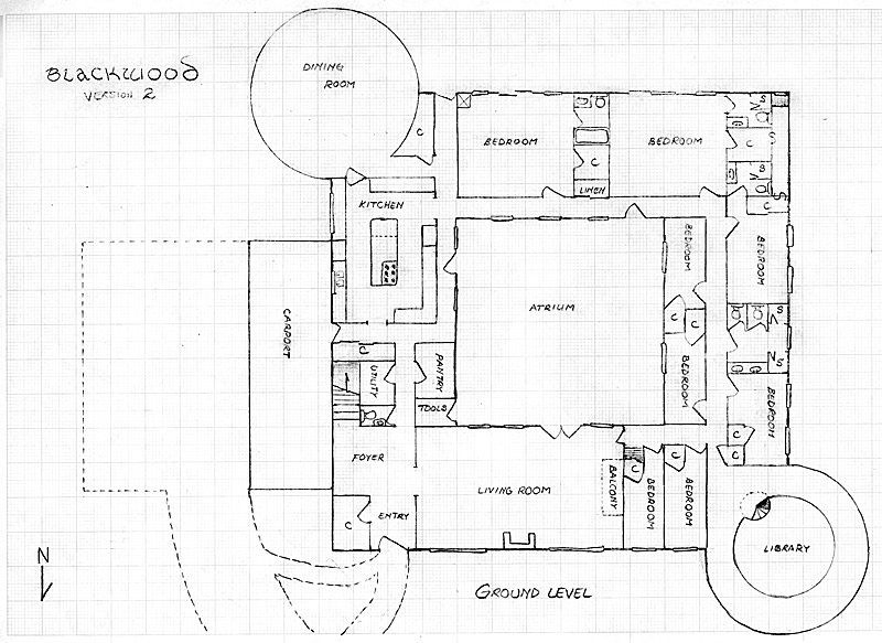 Layout of the ground floor in Version 2 of the communal house