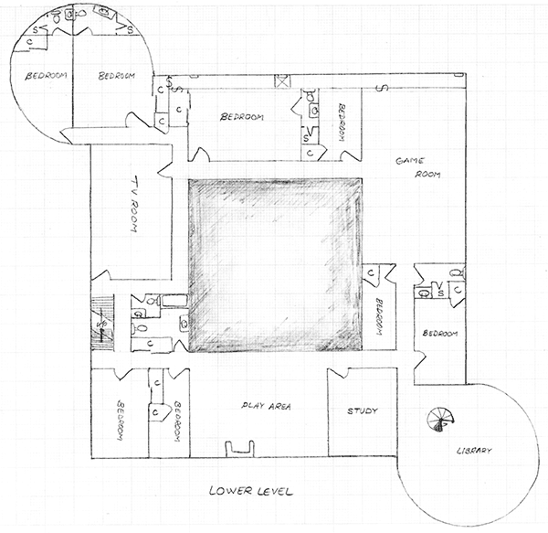 Layout of the lower level in Version 2 of the communal house