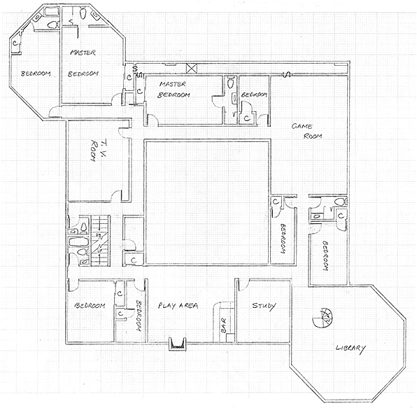 Layout of the ground floor in Version 3 of the communal house