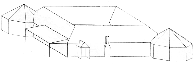 Isometric exterior view of the communal house, Version 3