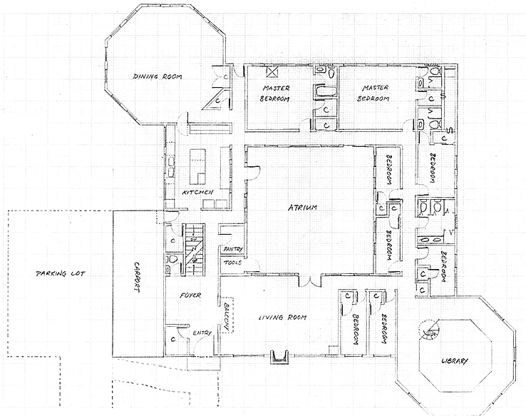 Layout of the ground level in Version 3 of the communal house