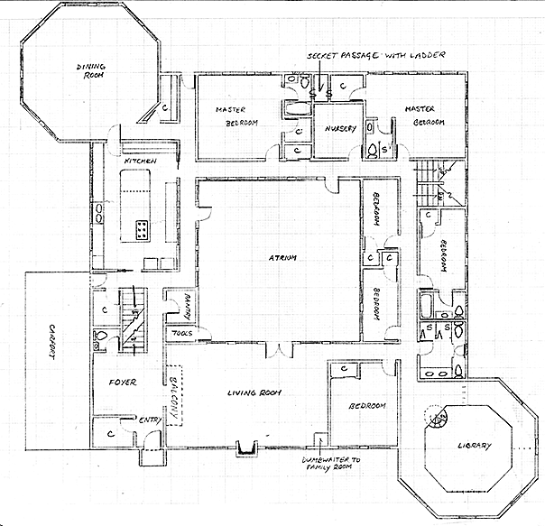 Layout of the ground floor in Version 4 of the communal house