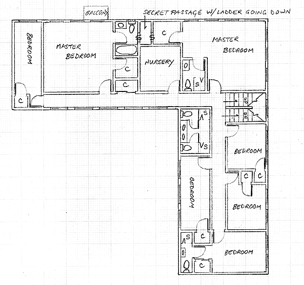 Layout of the upper level in Version 4 of the communal house