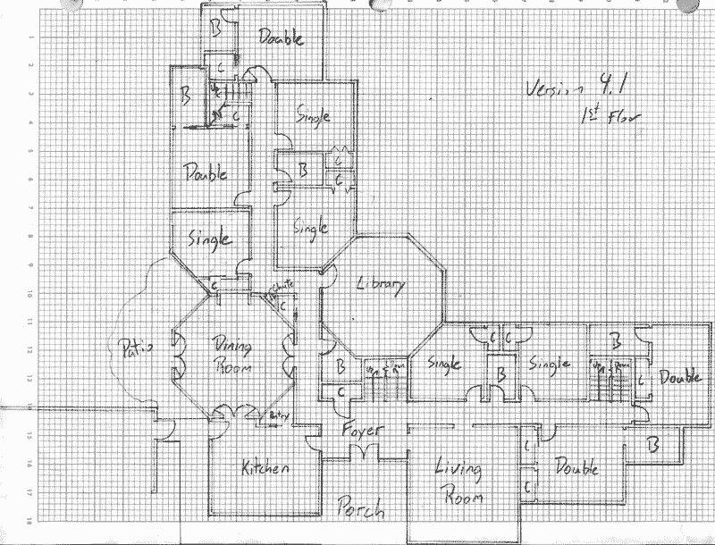 Layout of the ground level in Version 4.1 of the communal house