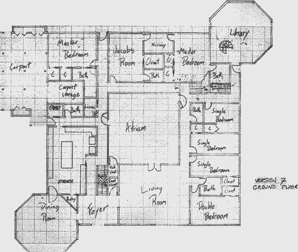 Layout of the ground level in Version 7 of the communal house