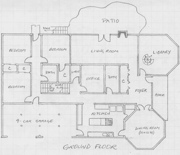 Layout of the ground level in Version III.1 of the communal house