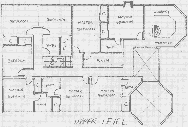Layout of the upper level in Version III.1 of the communal house