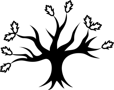 An oak tree with 5 main branches, 13 sub-branches, and 9 leaves