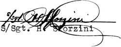 Signature of Staff Sergeant Harry Sforzini