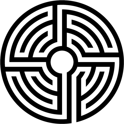 A circular labyrinth with a single path winding around to the center