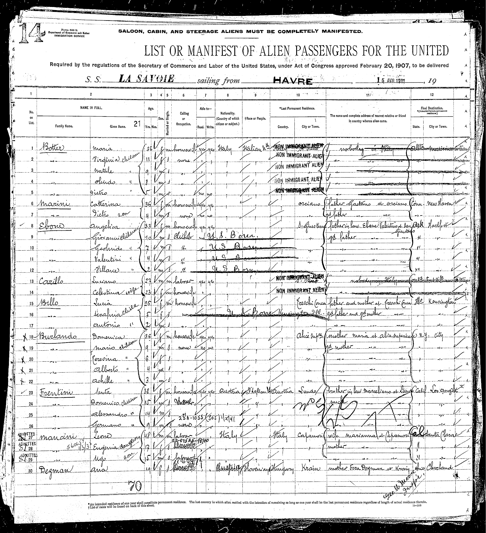 Ellis Island immigration record showing the Mancinis' admittance to the U.S.