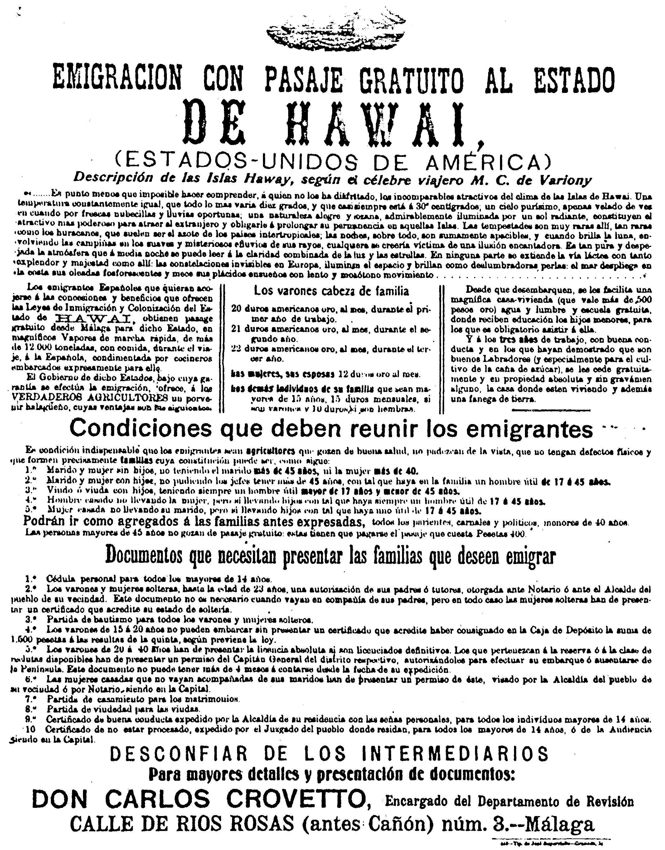 Terms and conditions for laborers to get free passage to Hawaii