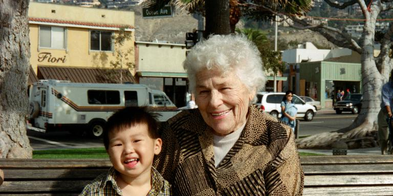 Evelyn with great-grandson Aidan in 2003