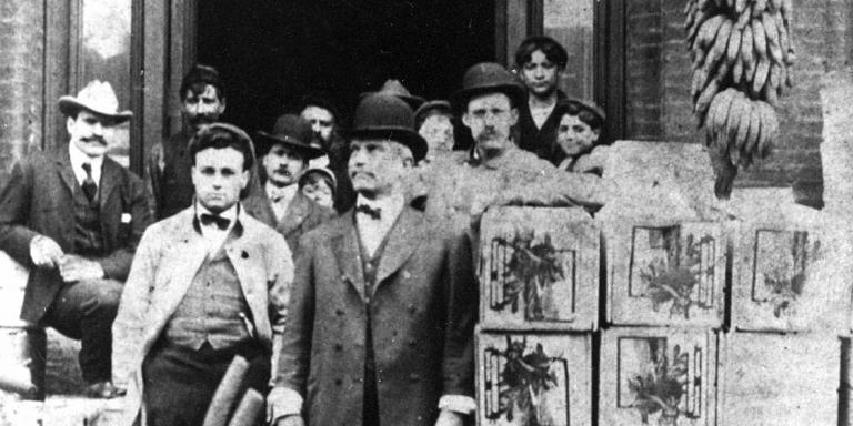 Joseph and Salvatore Di Giorgio with a shipment of bananas to the Baltimore Fruit Exchange