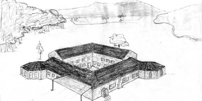 Exterior sketch of the proposed communal house Blackwood
