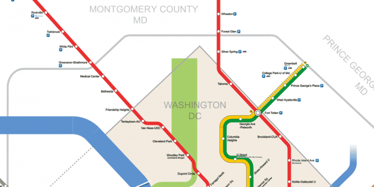 Portion of the Washington DC Metro System map
