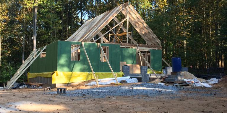 The roof beams go up on our Derwood home