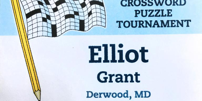 My nametag badge from the American Crossword Puzzle Tournament