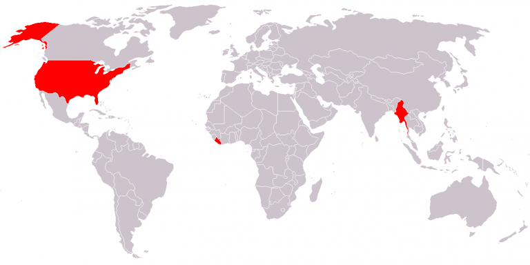World map showing the only 3 countries not using the metric system (U.S., Myanmar, and Liberia).