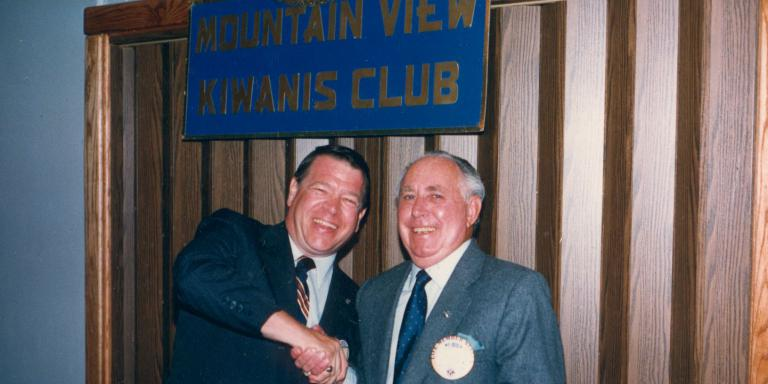 Harry at a meeting of the Mountain View Kiwanis Club