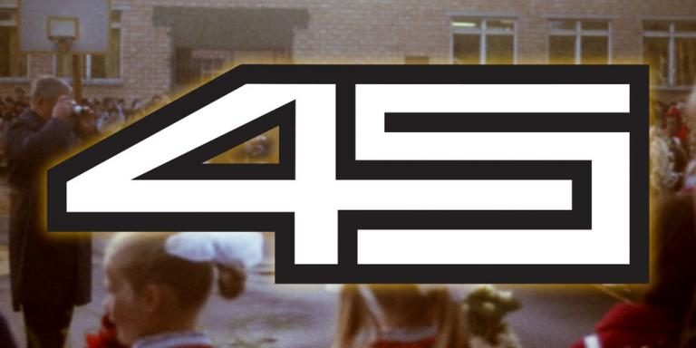 The School 45 logo, superimposed on a picture of students on opening day