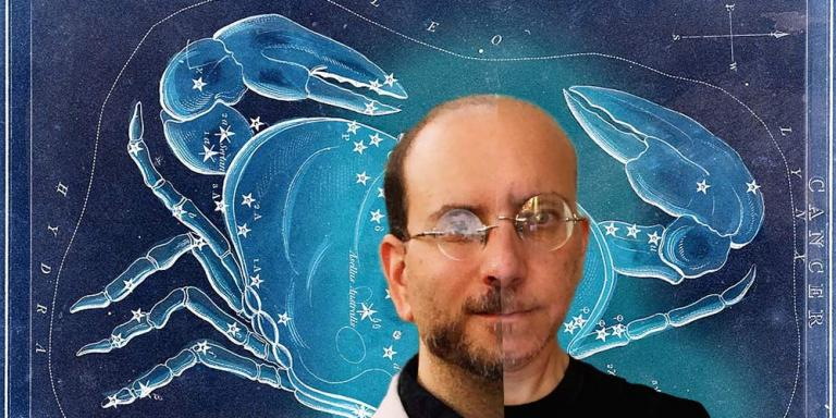 Composite portrait of Elliot before and after diagnosis, with the Cancer constellation in the background.