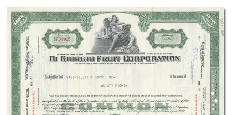 Certificate of Di Giorgio Fruit Corporation Stock