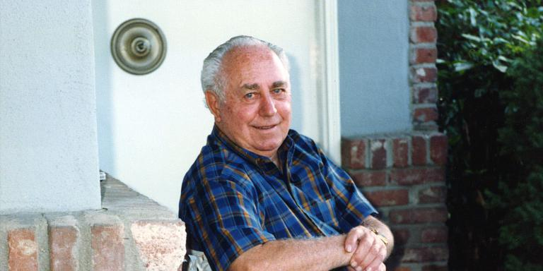 Harry Sforzini on the front porch of the house he designed, 756 Vista Grande in Los Altos