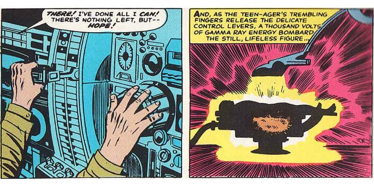 Panels from an early Incredible Hulk comic, in which Dr. Banner is bombarded with gamma rays
