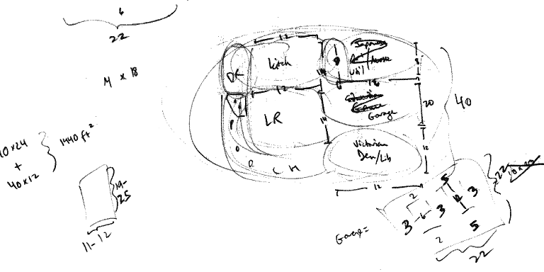 Bubble map of proposed ground floor and other preliminary doodles