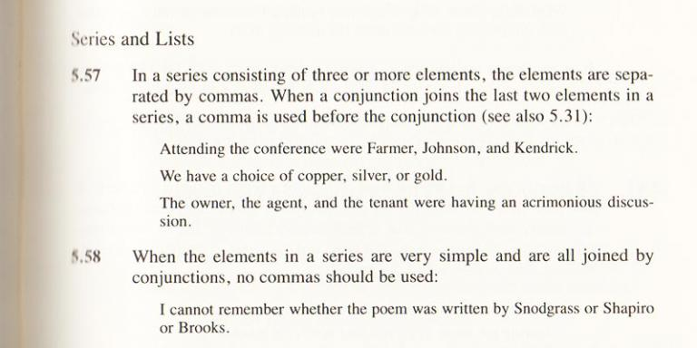 The Chicago Manual of Style section on the serial comma