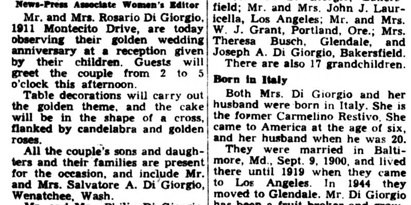 Newspaper notice of the 50th wedding anniversary