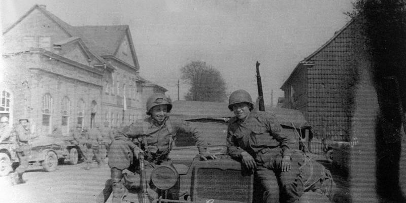Two GIs with their tank in Italy during World War Two