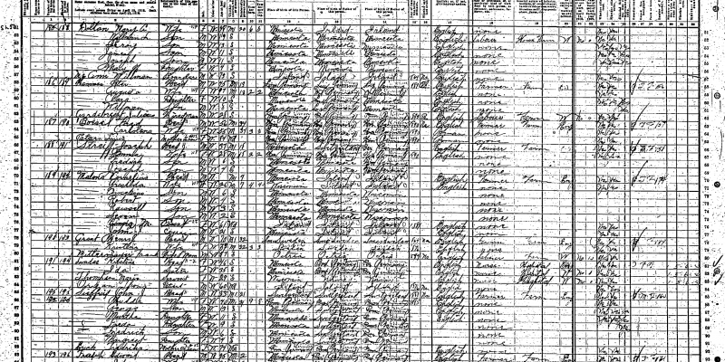 Henry and Christine Grant on lines 78 to 79 of the 1910 U.S. Census