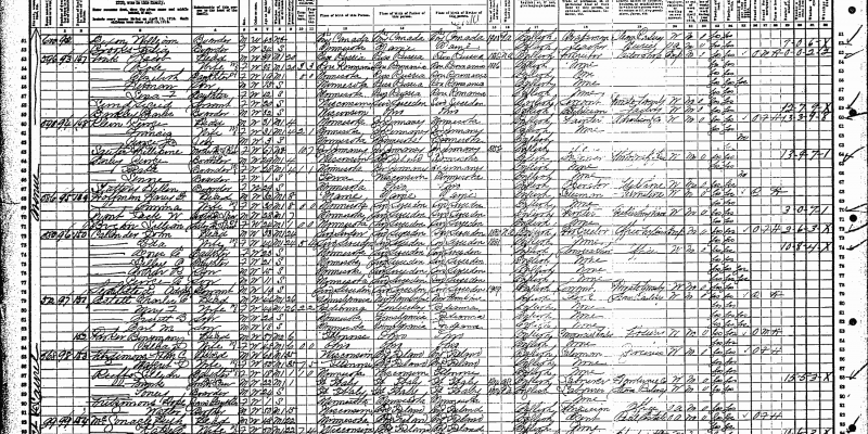 1910 U.S. Census page for Ramsey County, Minnesota