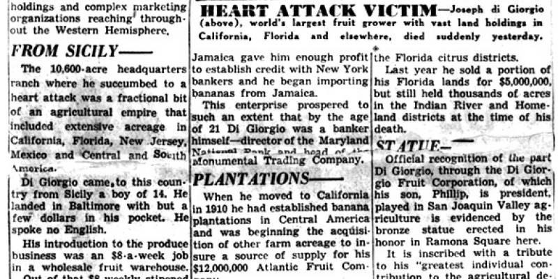 Scan of the Los Angeles Examiner obituary notice for Joseph Di Giorgio