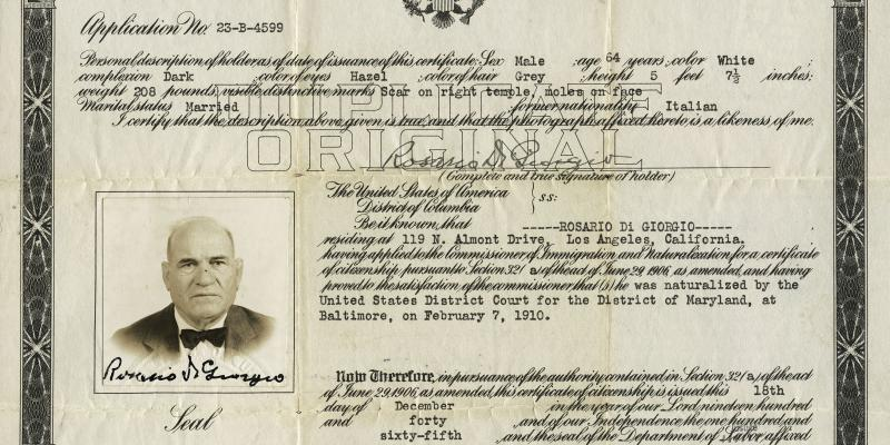 Scan of Rosario's certificate of U.S. citizenship