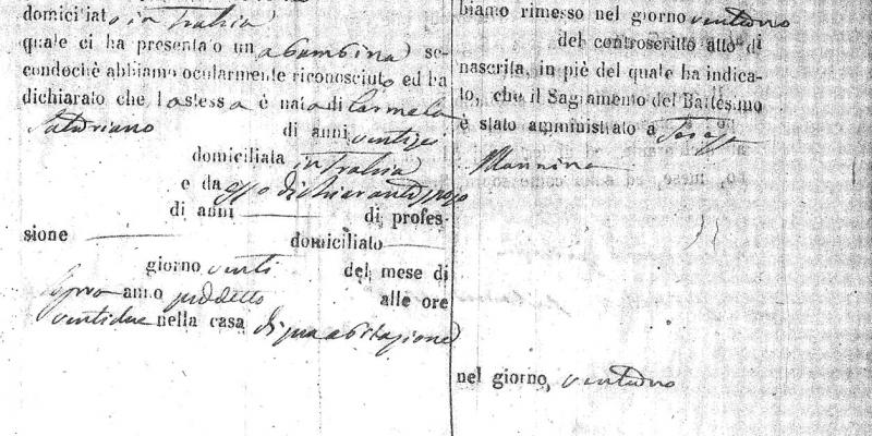Birth certificate of Teresa Mannina Restivo