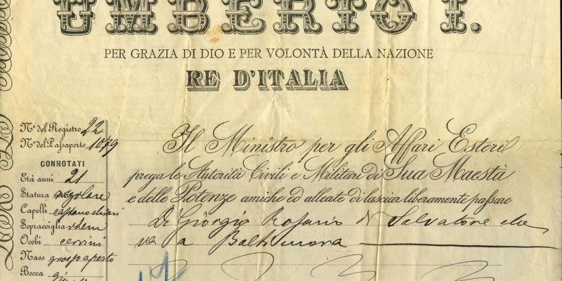 Permission from the Italian government for young Rosario to travel to Baltimore