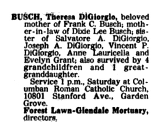 Obituary notice of Theresa Di Giorgio Busch