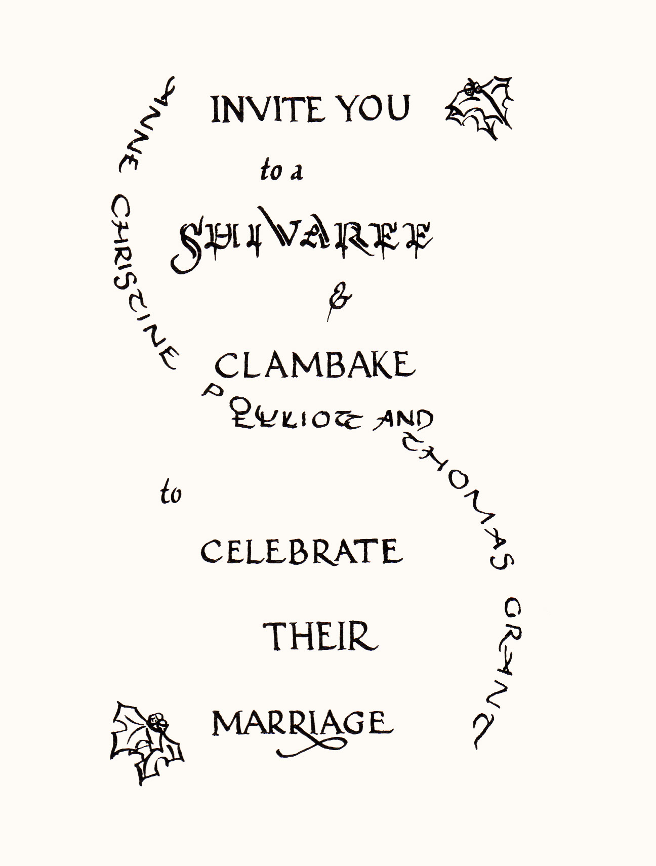 Calligraphic cover of the invitation to Anne and Elliot's 1994 wedding.